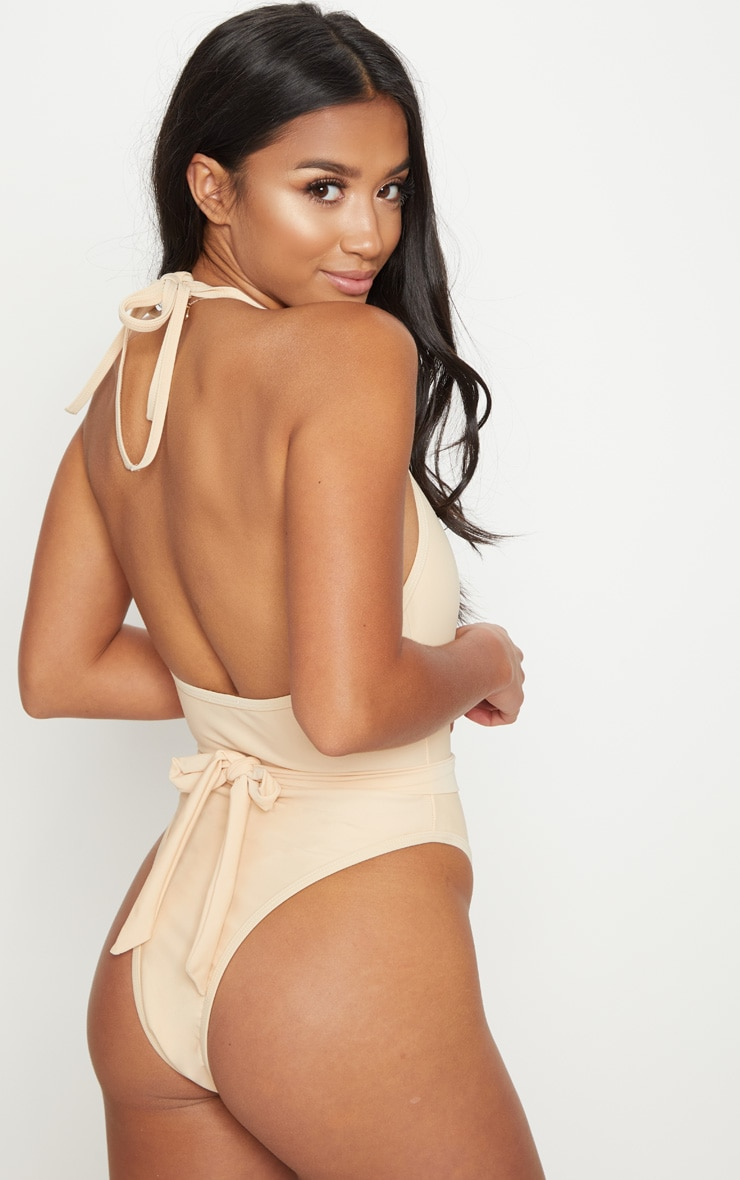 Petite Nude Lion Belted Swimsuit 2