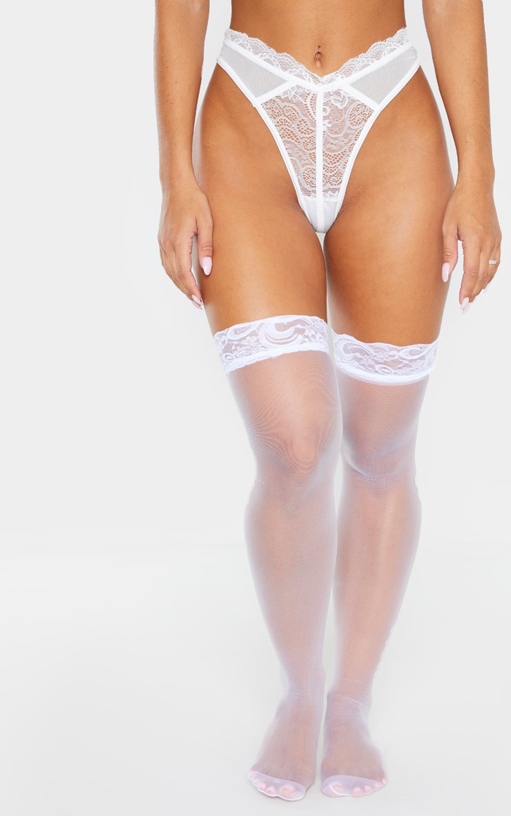 White Lace Top Sheer Hold Up Stockings 1