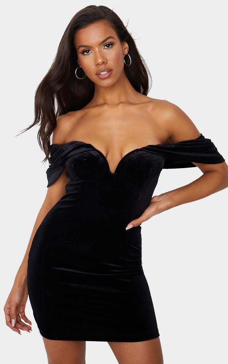 Black Velvet Plunge Bardot Bodycon Dress 1