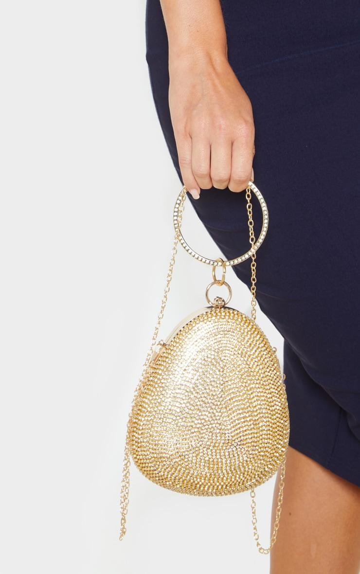 Gold Diamante Oval Bag 1