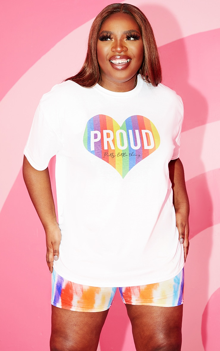 Plus White Slogan Proud Heart T Shirt
