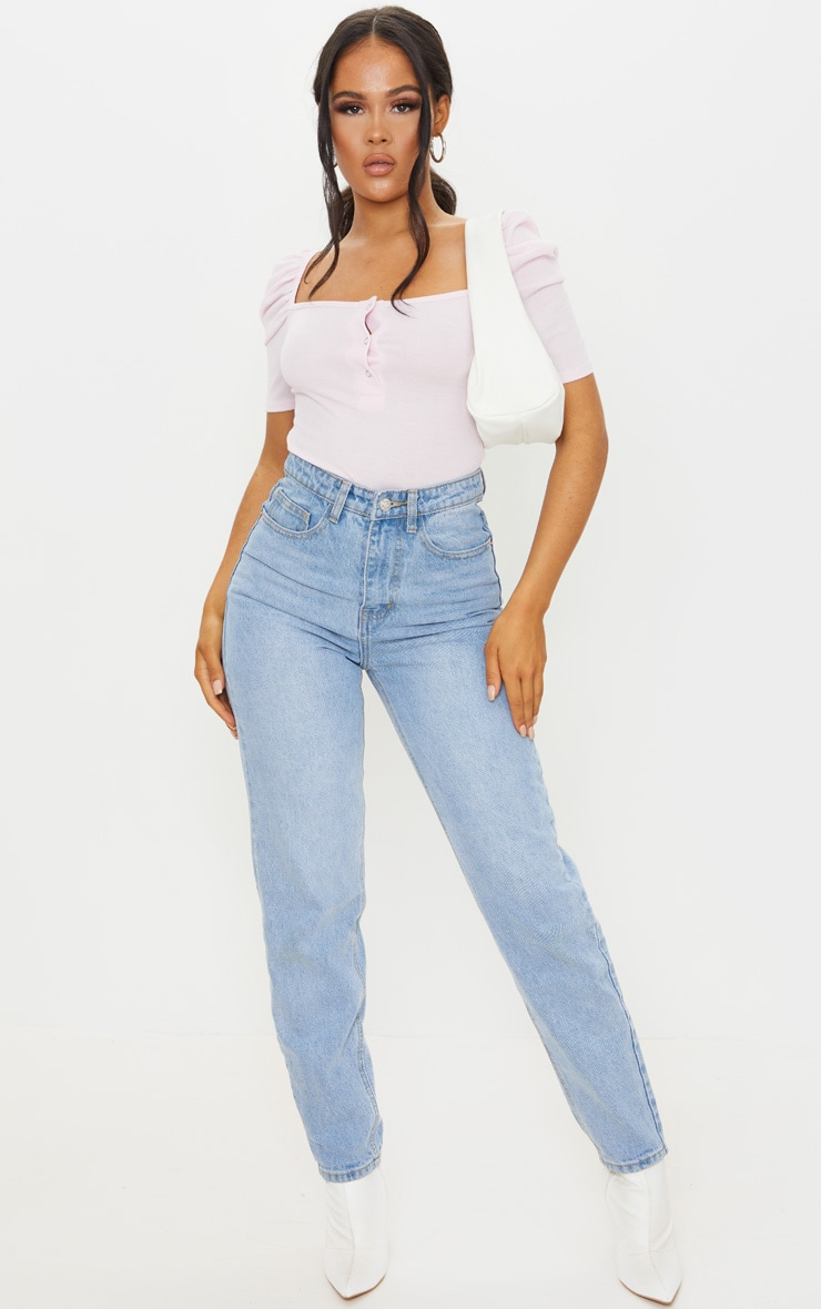 Baby Pink Rib Puff Short Sleeve Bodysuit 3