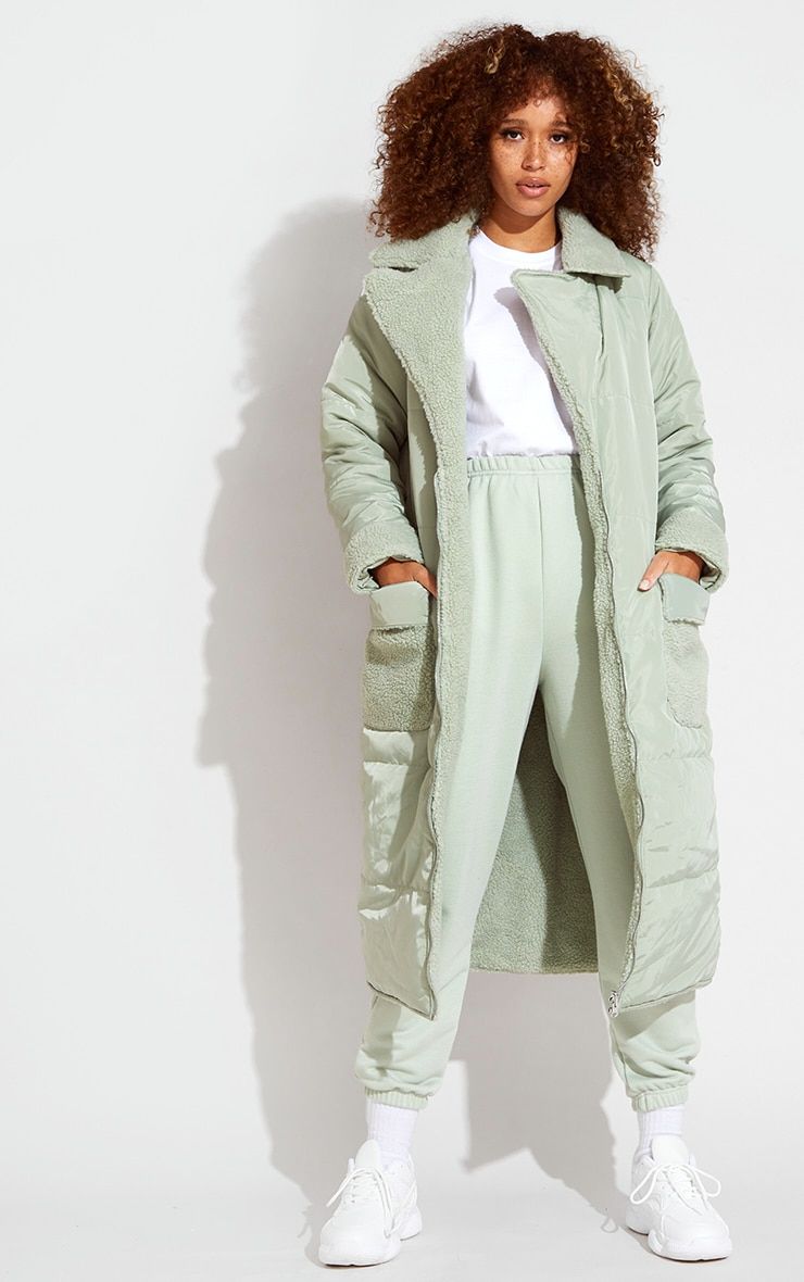 Sage Green Borg Reversible Nylon Maxi Coat 4