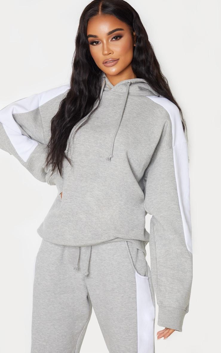 Grey Contrast Side Stripe Hoodie 1