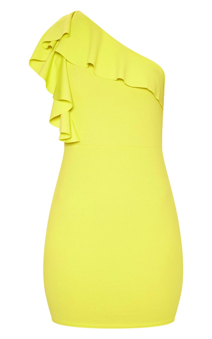 Chartreuse One Shoulder Frill Detail Bodycon Dress 3