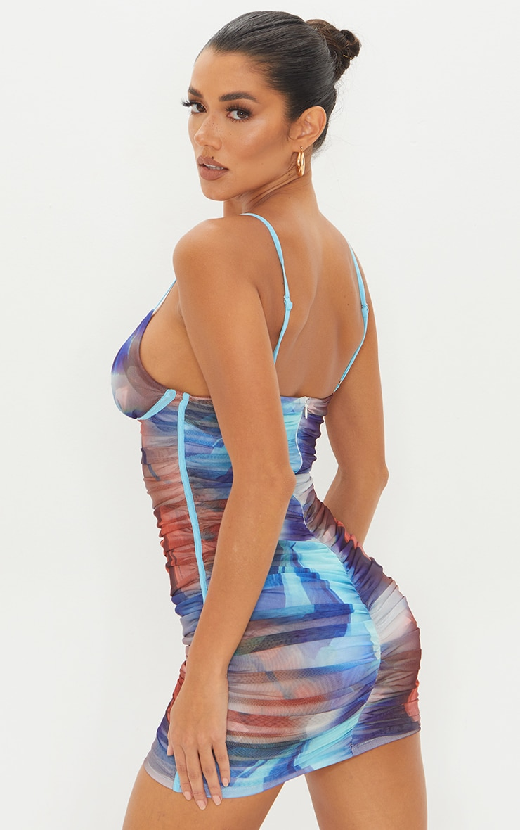 Blue Abstract Print Mesh Ruched Underwire Bodycon Dress 2