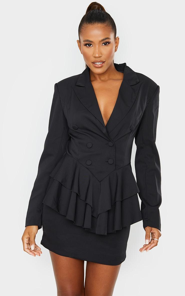 Black Peplum Frill Blazer Dress 3