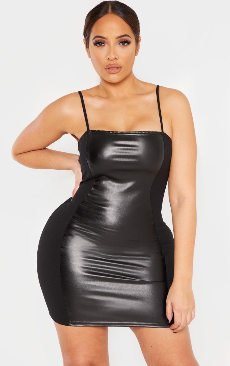 Shape Black PU Panel Bodycon Dress 1