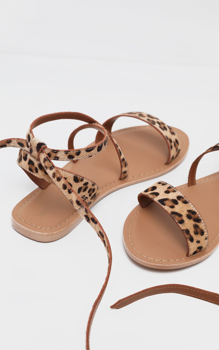 Leopard Basic Leather Sandal 4