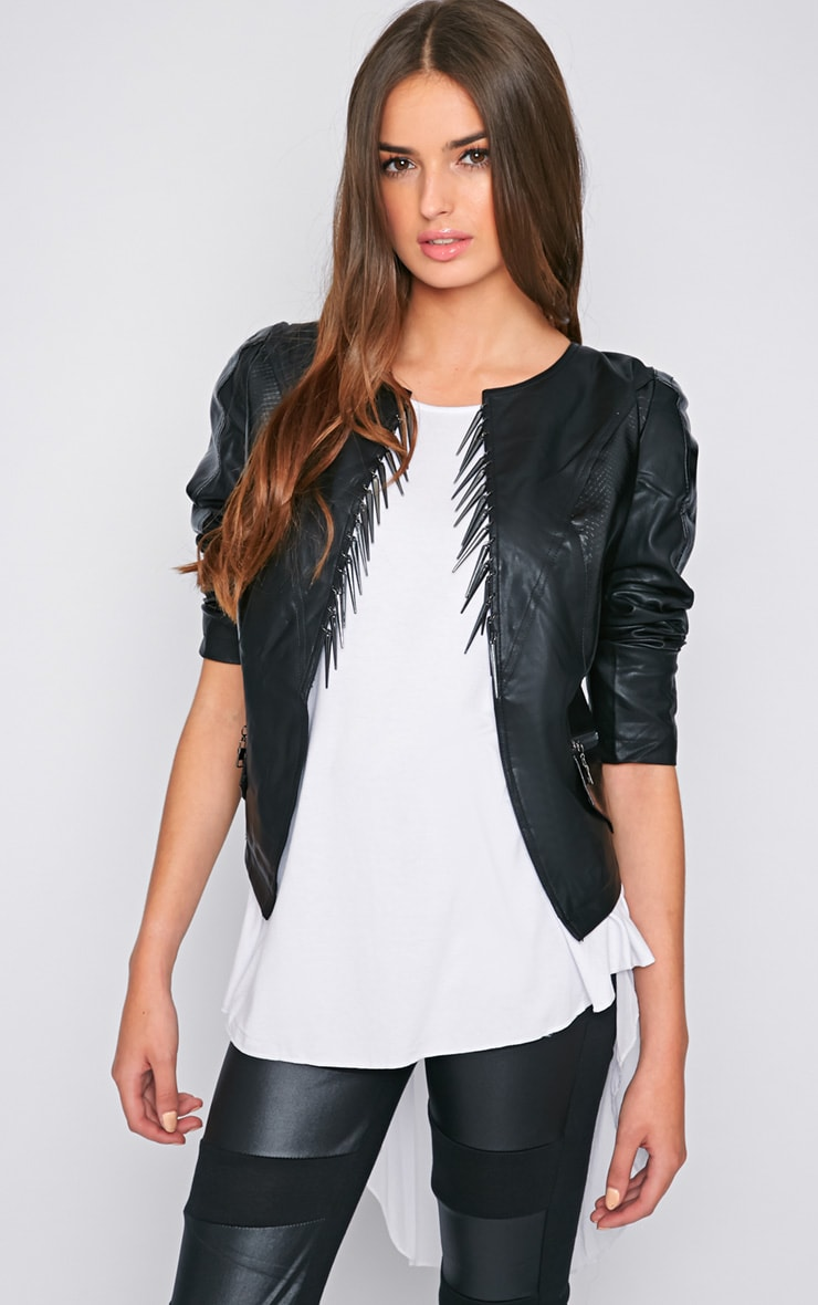 Tina Black Snakeskin Spike Jacket  1