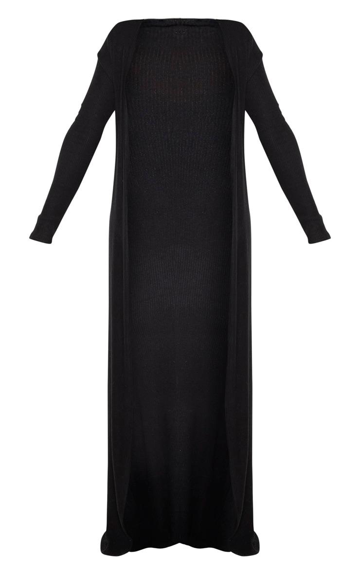 Shape - Veste longue en maille côtelée brossée noire 3