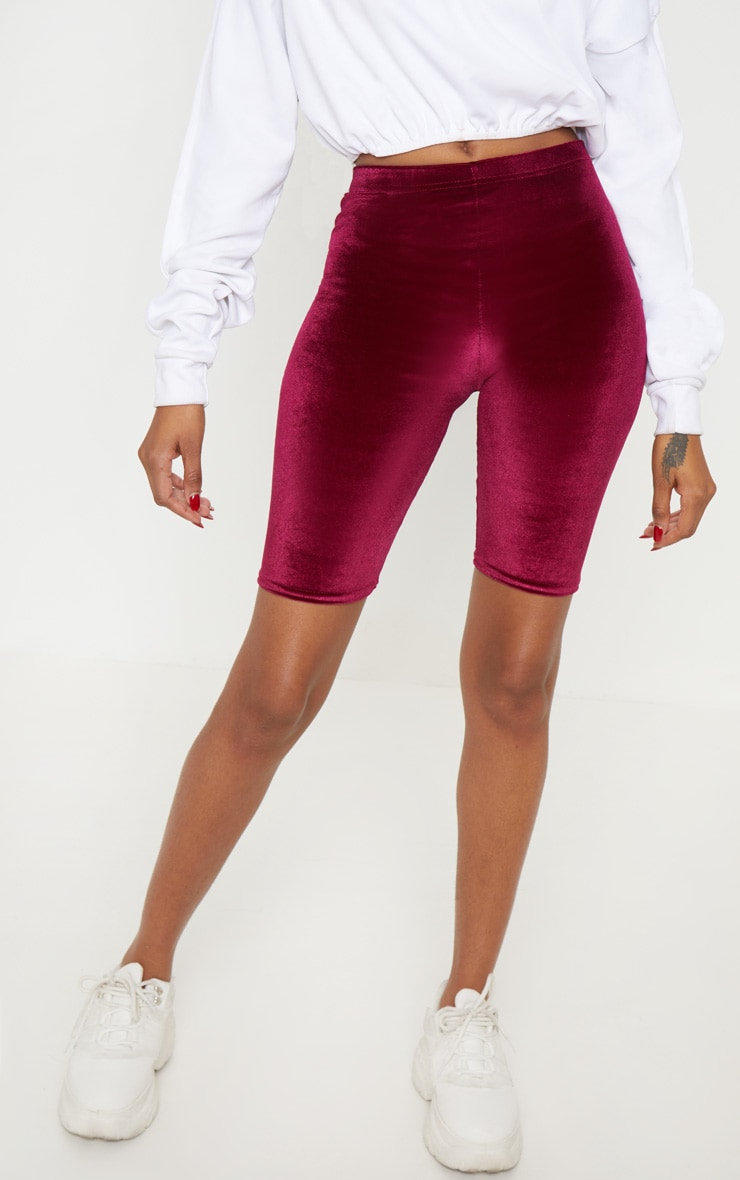 Maroon Velvet Bike Short 2