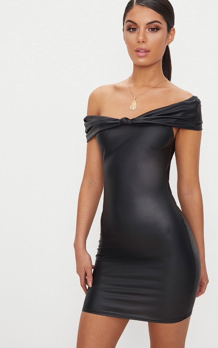 Black Vinyl Knot Detail Bardot Bodycon Dress 1