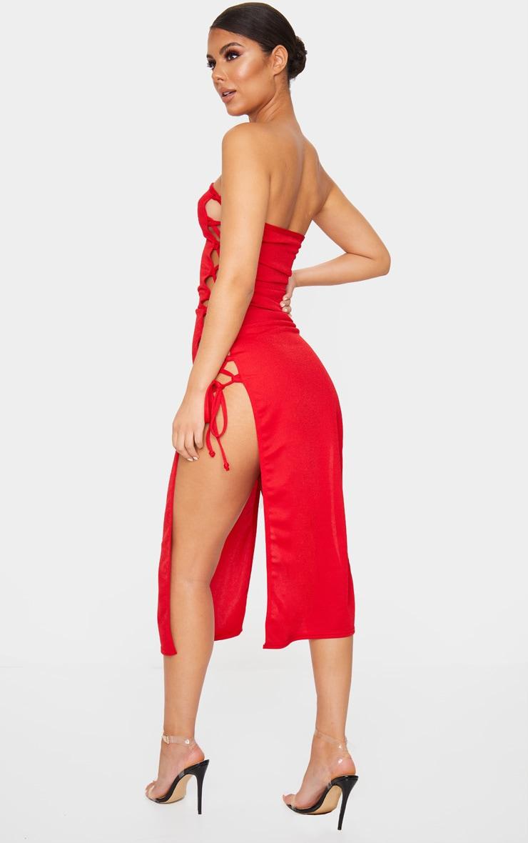 Robe bandeau longue rouge fendue à laçage  2