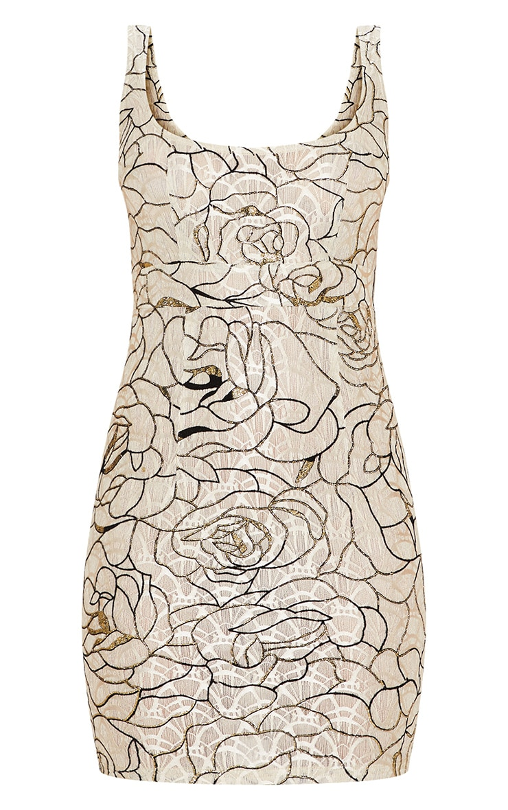 Nude Lace Glitter Floral Square Neck Bodycon Dress 3