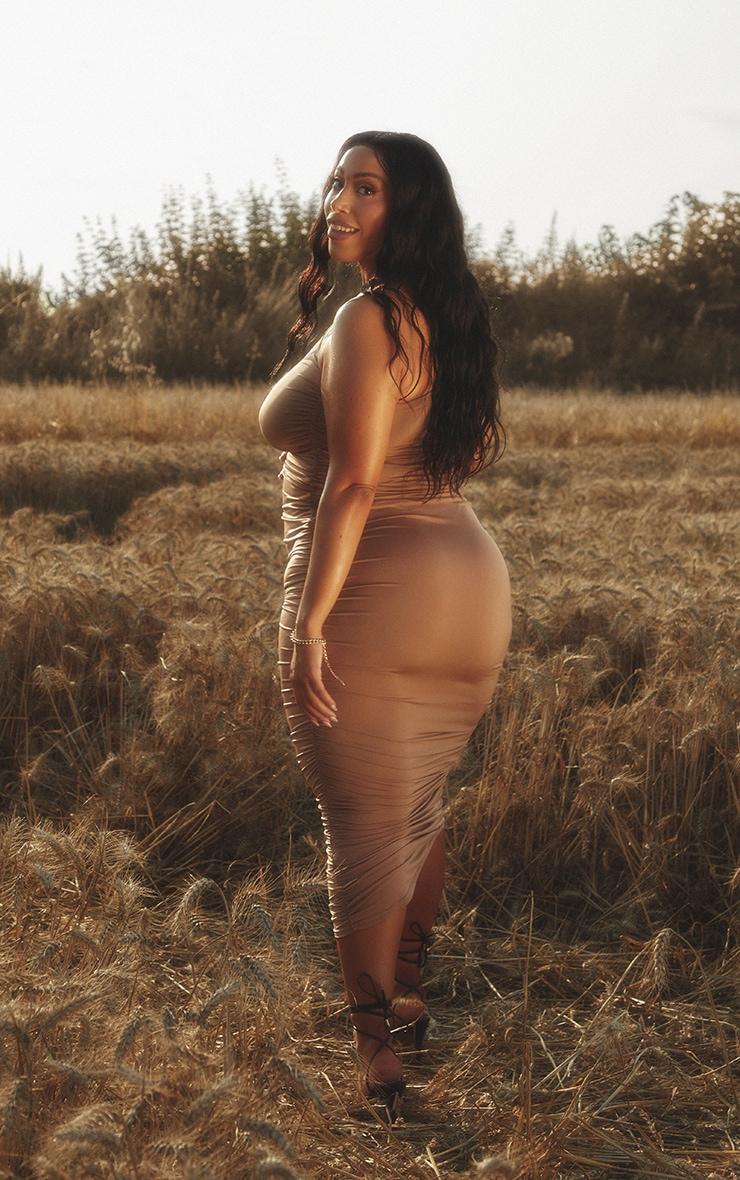 Maternity Stone Slinky One Shoulder Maxi Dress 2