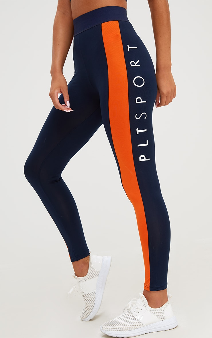 PRETTYLITTLETHING Navy Contrast Gym Leggings 5