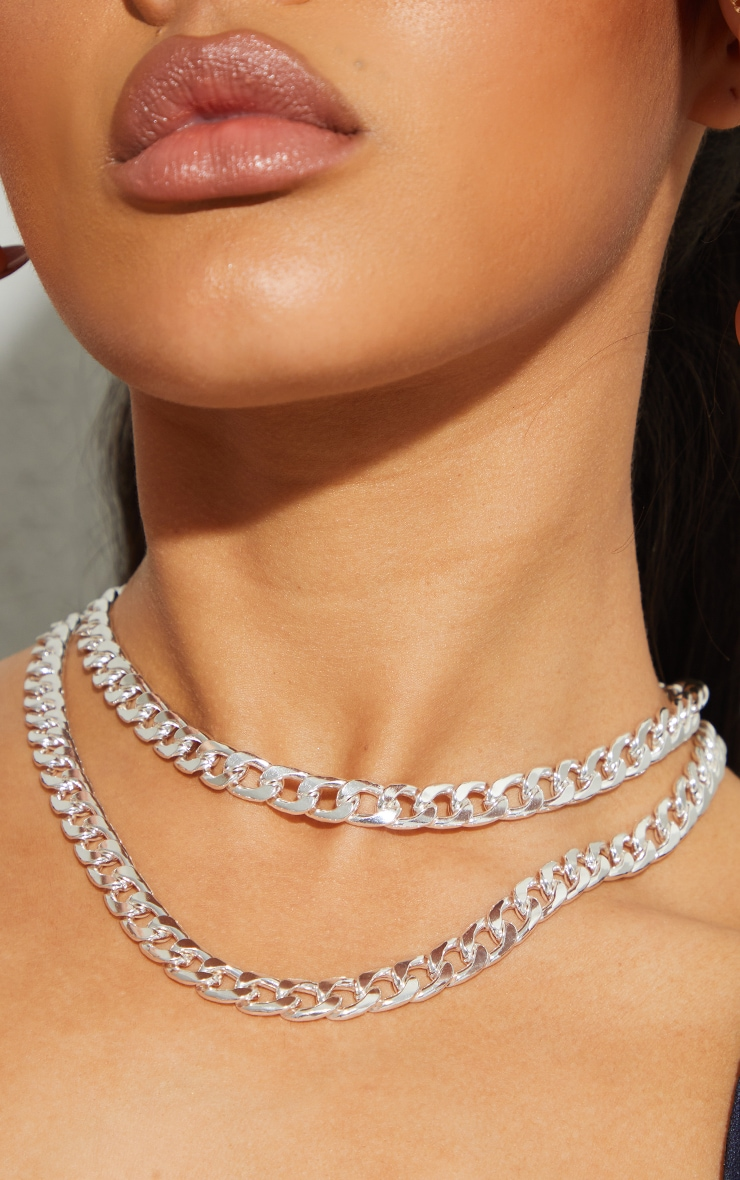 Silver Chunky Double Chain Necklace 2