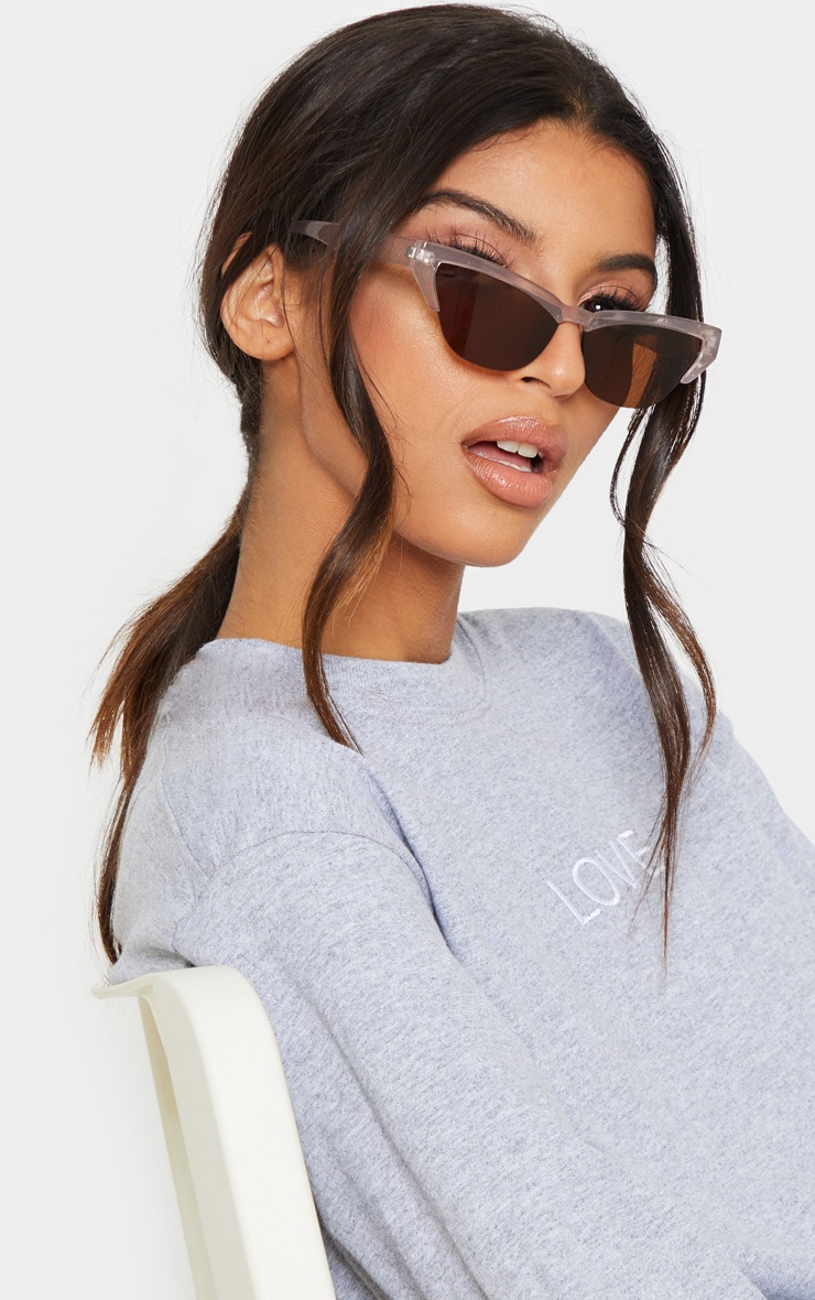 Taupe Slim Cat Eye Sunglasses 1
