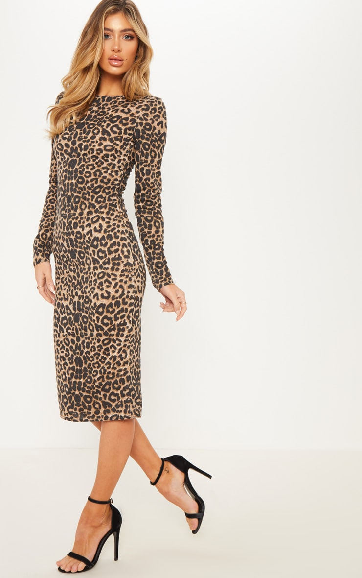 Brown Leopard Print Long Sleeve Midi Dress 4