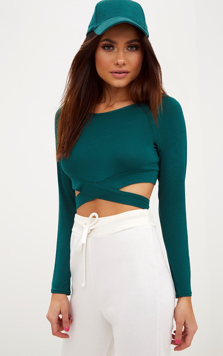 Forest Green Cross Front Longsleeve Crop Top  1