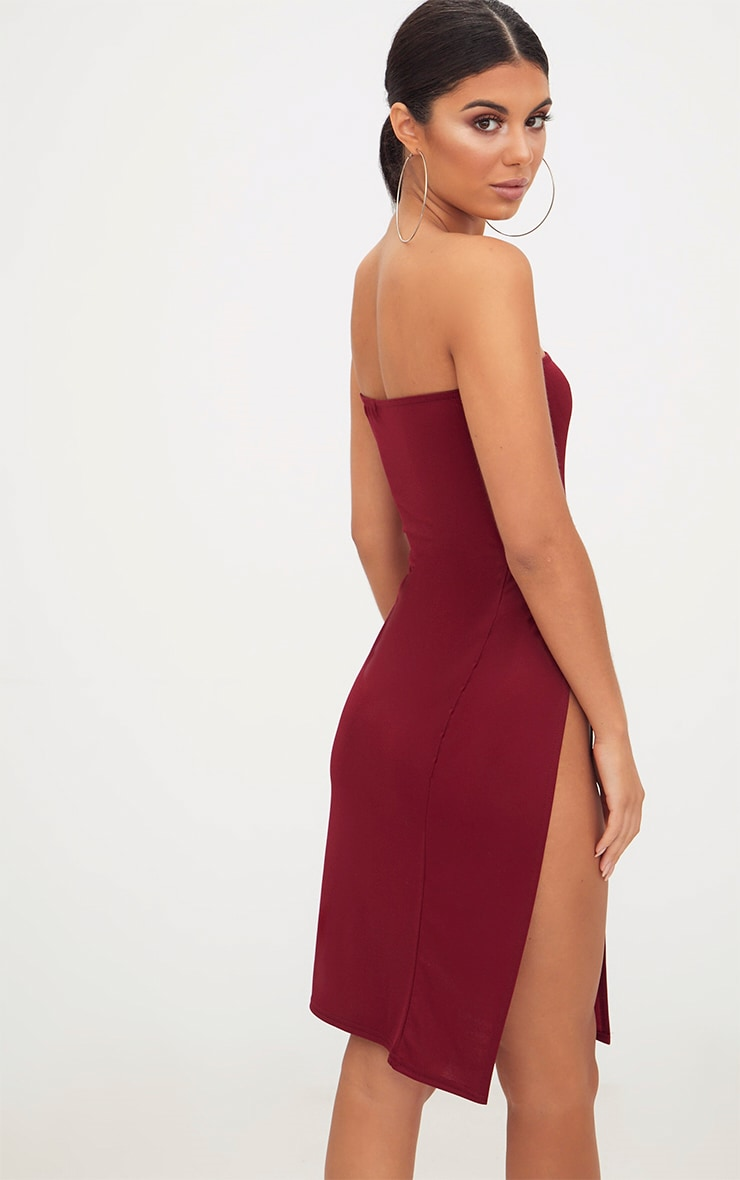 Burgundy Extreme Split Bandeau Midi Dress 2