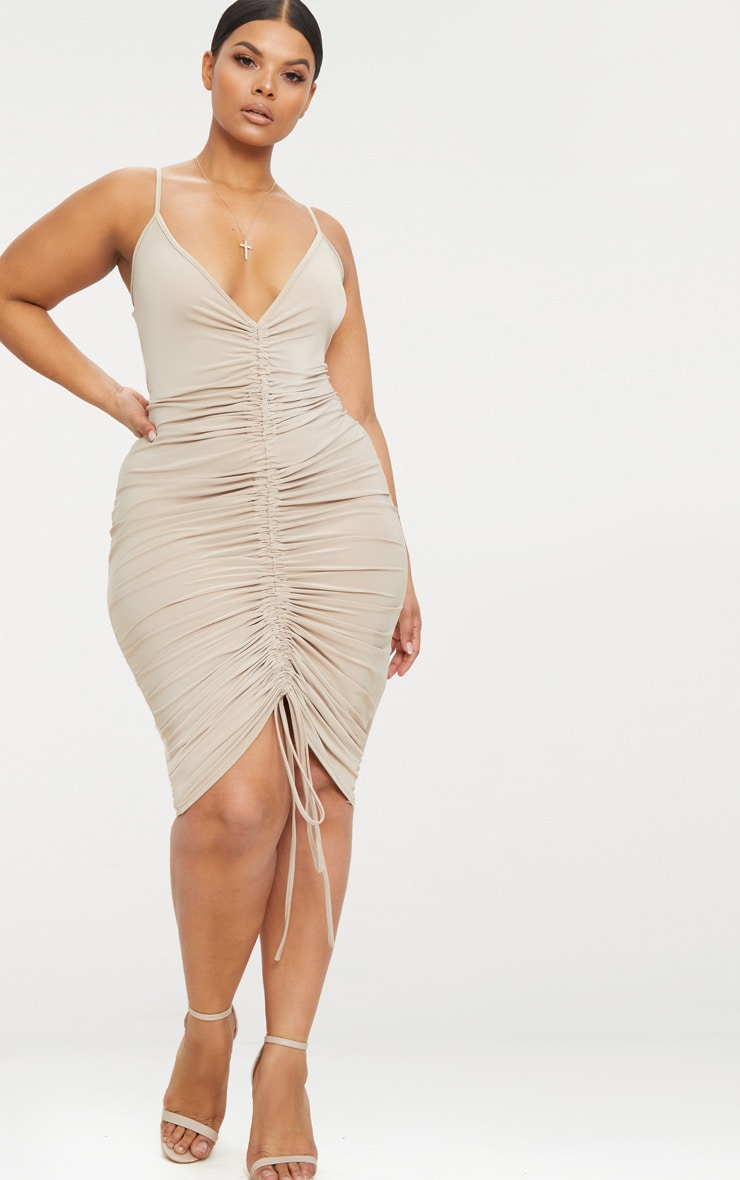 Plus Stone Slinky Strappy Ruched Midi Dress 1