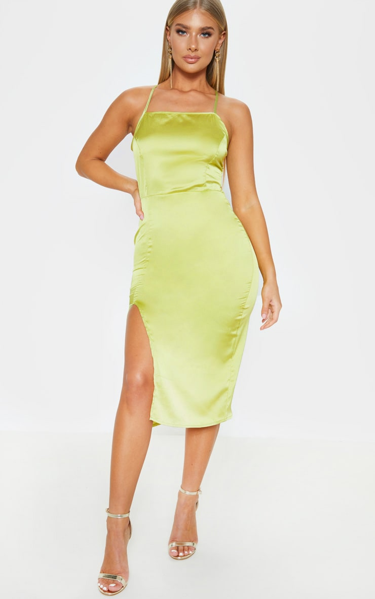 Lime Satin Backless Slip Dress 2