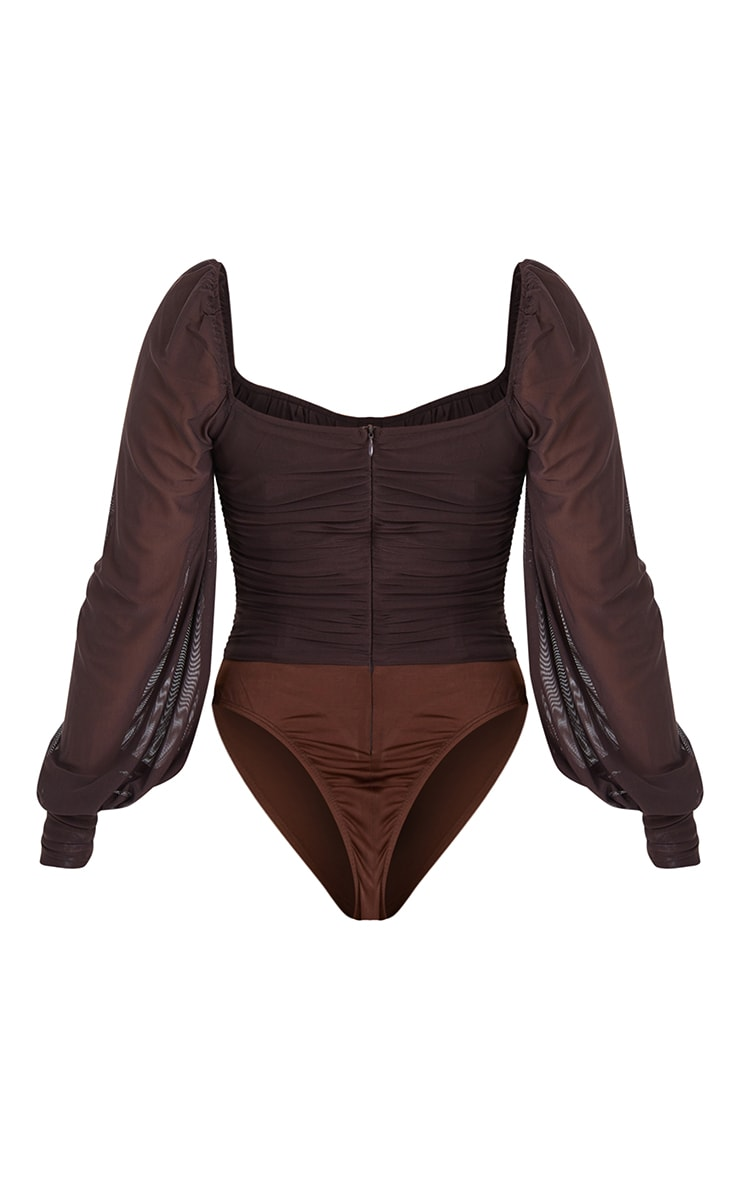 Chocolate Mesh Ruched Detail Long Sleeve Bodysuit 6