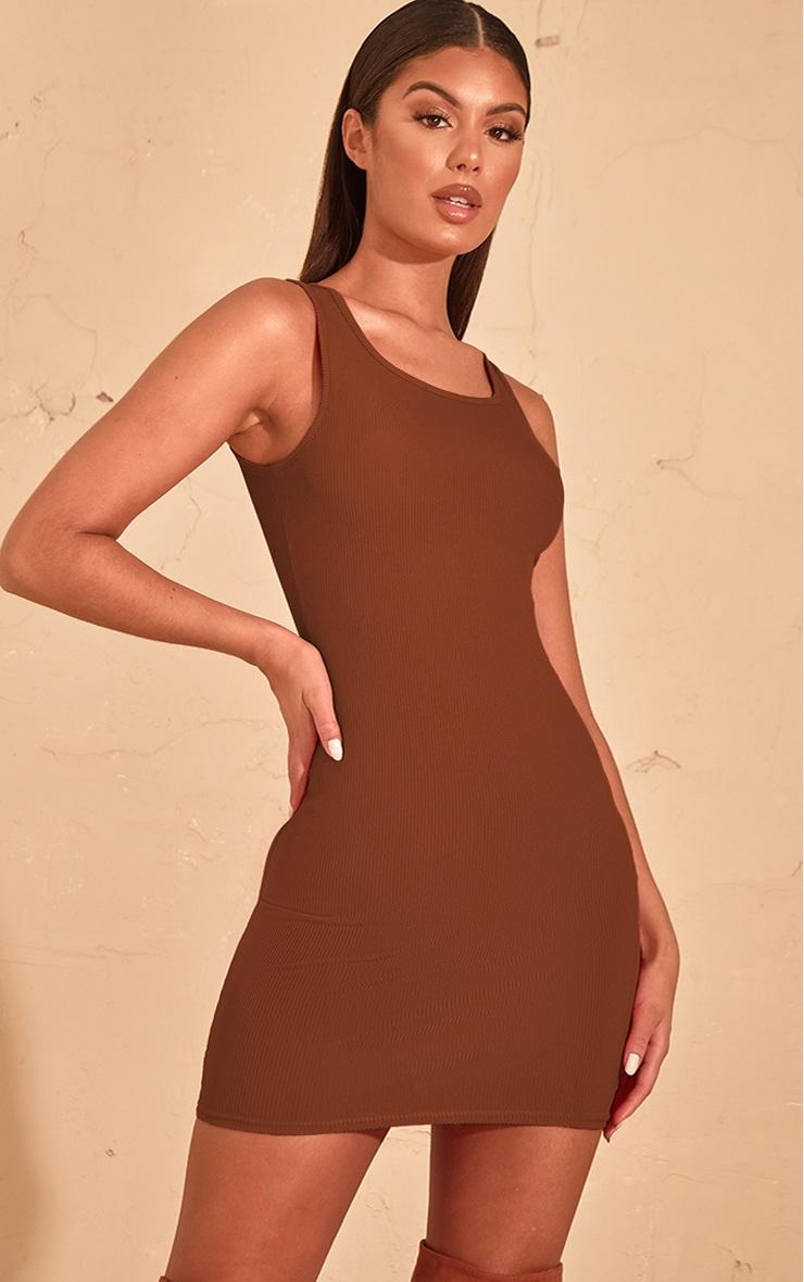 Chocolate Brown Rib Scoop Neck Bodycon Dress  1
