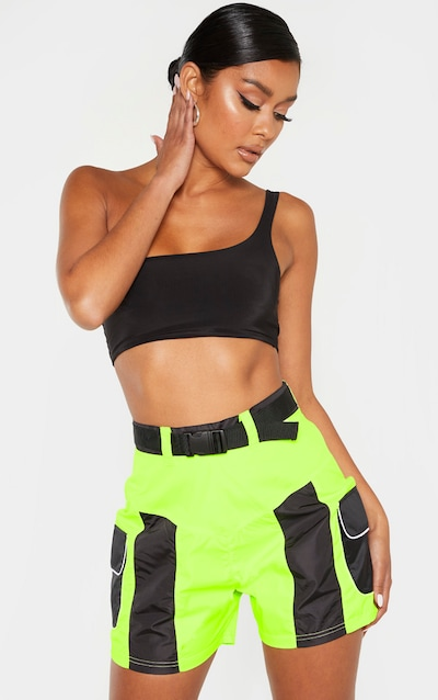 Black Shell Pocket Detail Belted Short