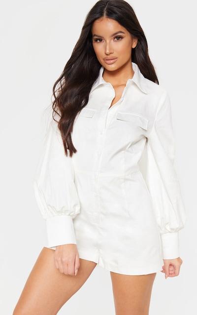 b8d81dd092 White Button Up Shirt Detail Long Sleeve Playsuit