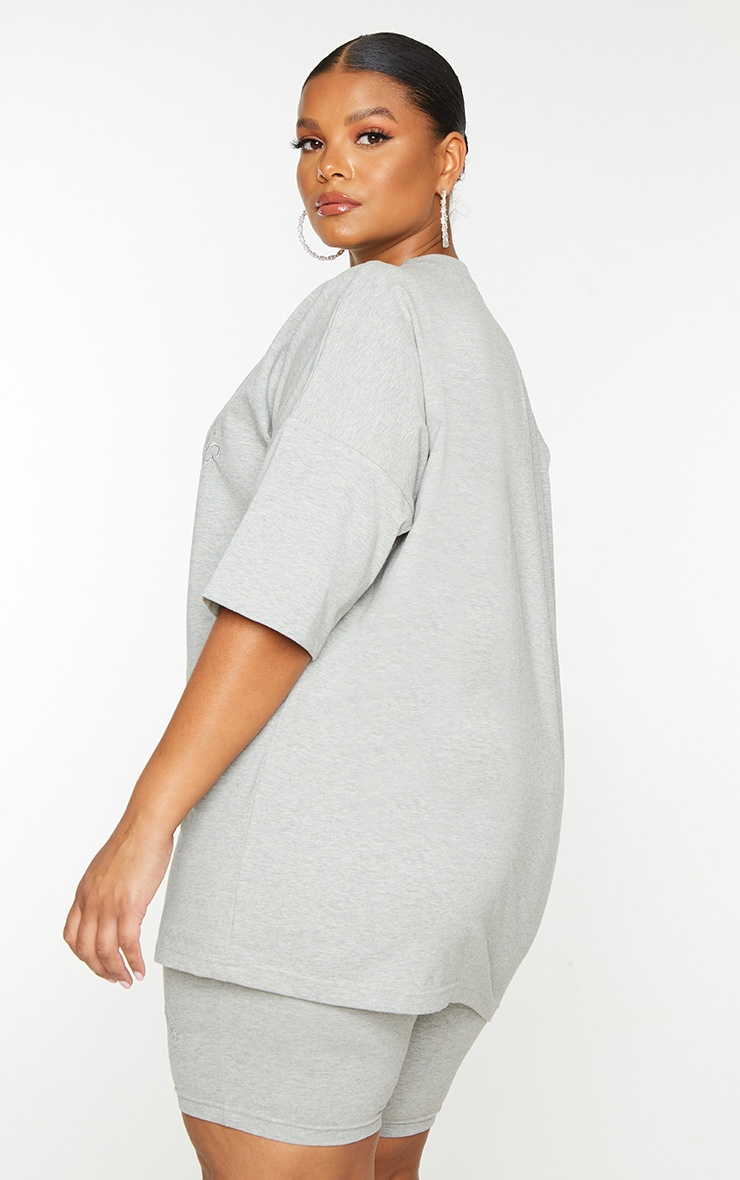 Plus Grey Embroidered Oversized Tshirt 2
