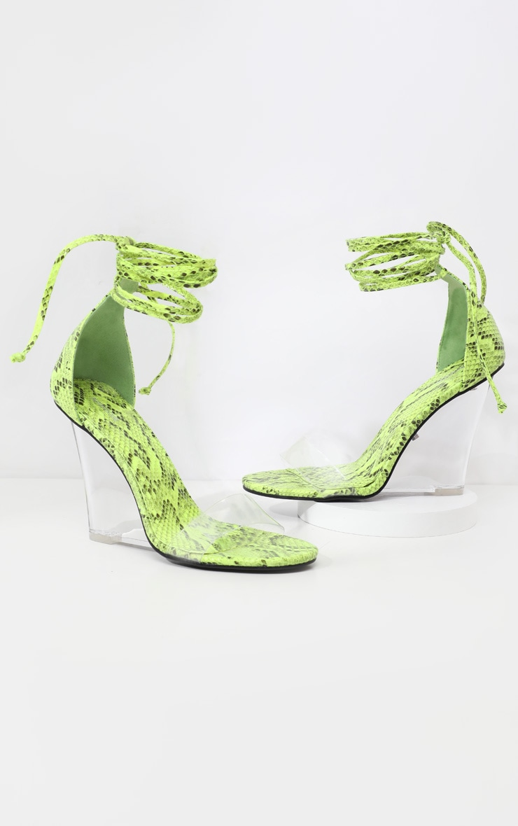 Lime Snake Ankle Tie Clear Wedges 3