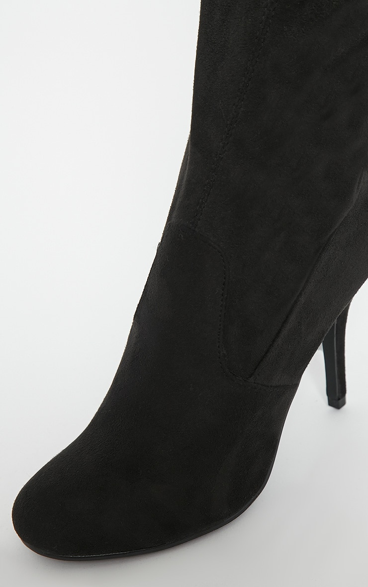 Ayanna Black Suedette Over The Knee Heeled Boots 7