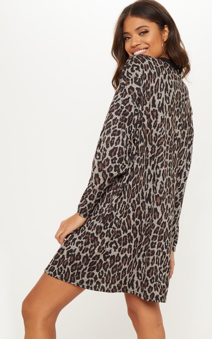 Brown Leopard Print Oversized Jumper Dress 2