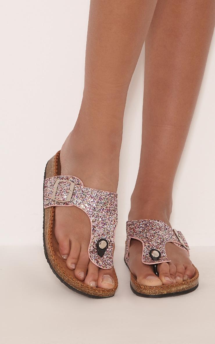 Emiliya Pink Glitter Strap Sandals 1