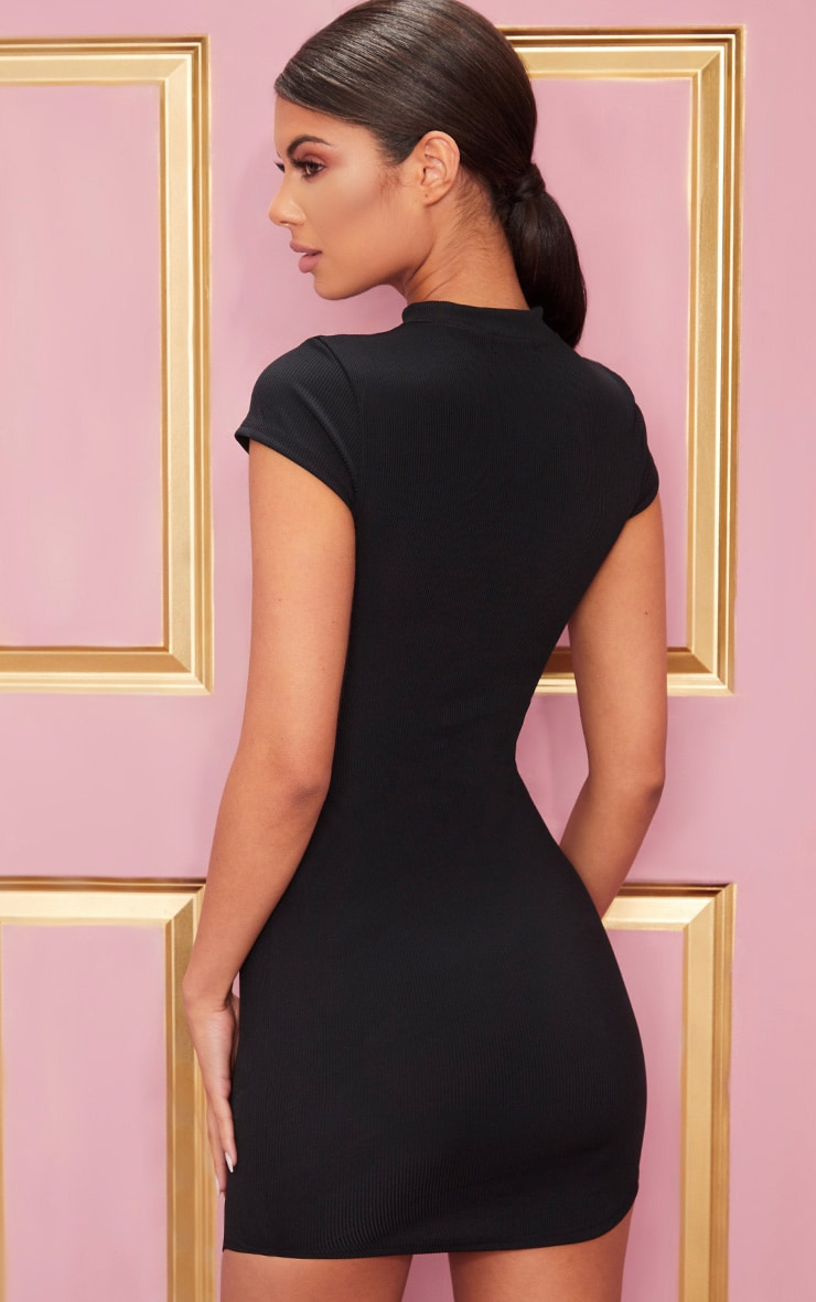 Black High Neck Ribbed Bodycon Dress 2