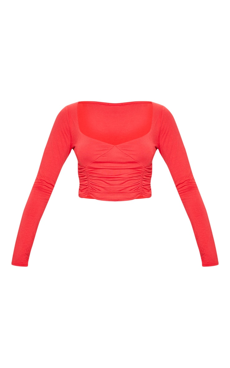 Red Jersey Ruched Front Long Sleeve Crop Top 3