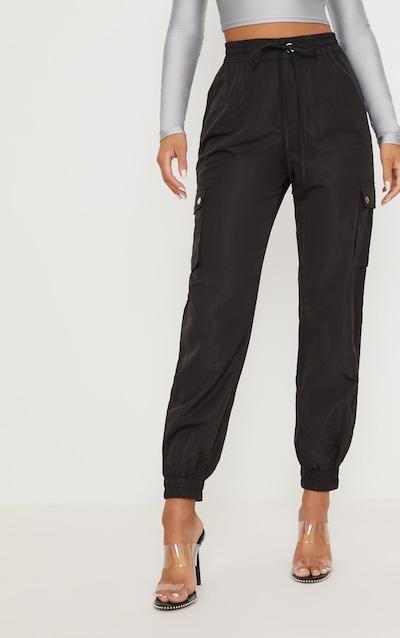 Black Shell Pocket Detail Cargo Trouser