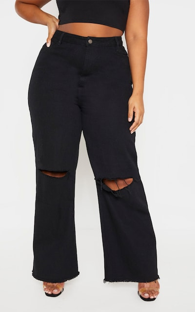 Plus Black Wide Leg Knee Rip Jean