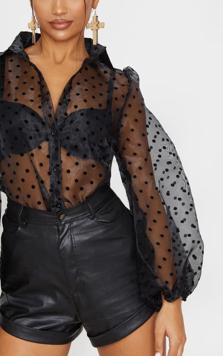 Black Polka Dot Organza Shirt 5