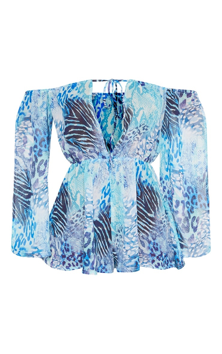 Blue Mixed Snake Cold Shoulder Beach Playsuit 6