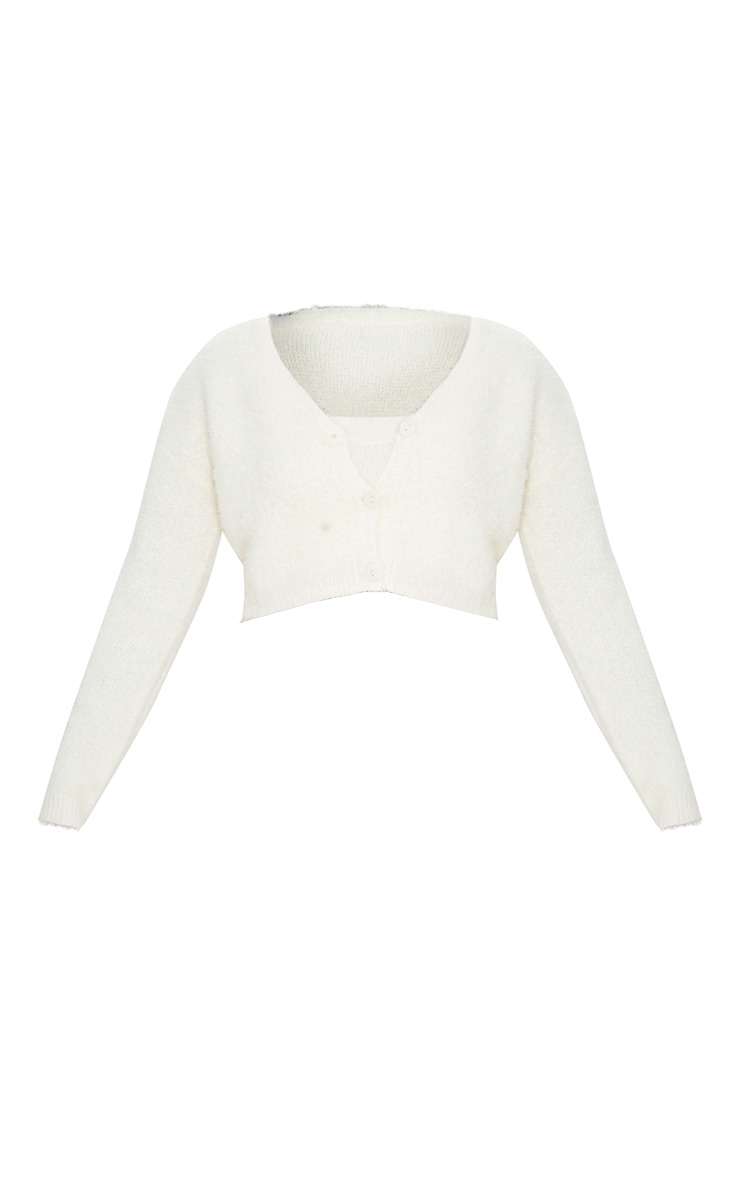 Cream Eyelash Knit Cropped Cardigan 5