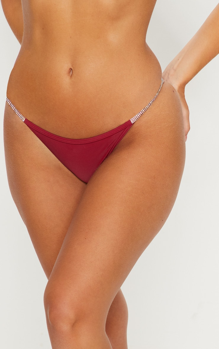 Burgundy Diamante Strap Bikini Bottom 6