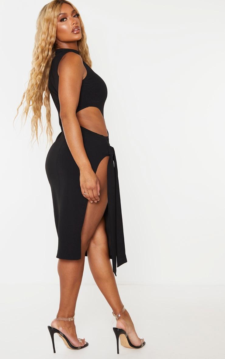 Shape Black One Sleeved Cut Out Tie Side Midi Dress 2