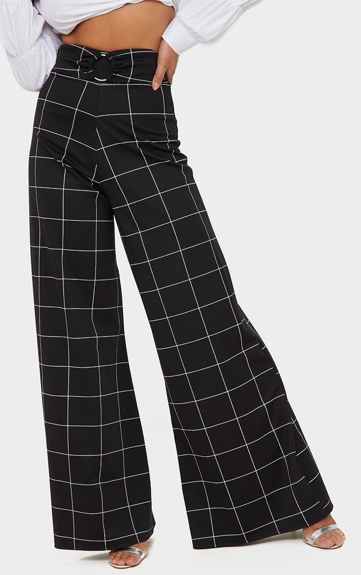 Black Window Check Belted Wide Leg Trousers 2