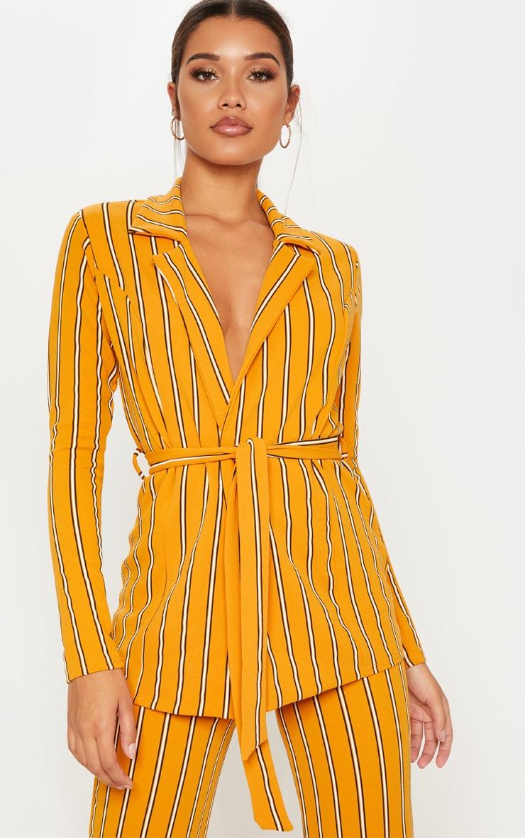 Mustard Contrast Stripe Blazer