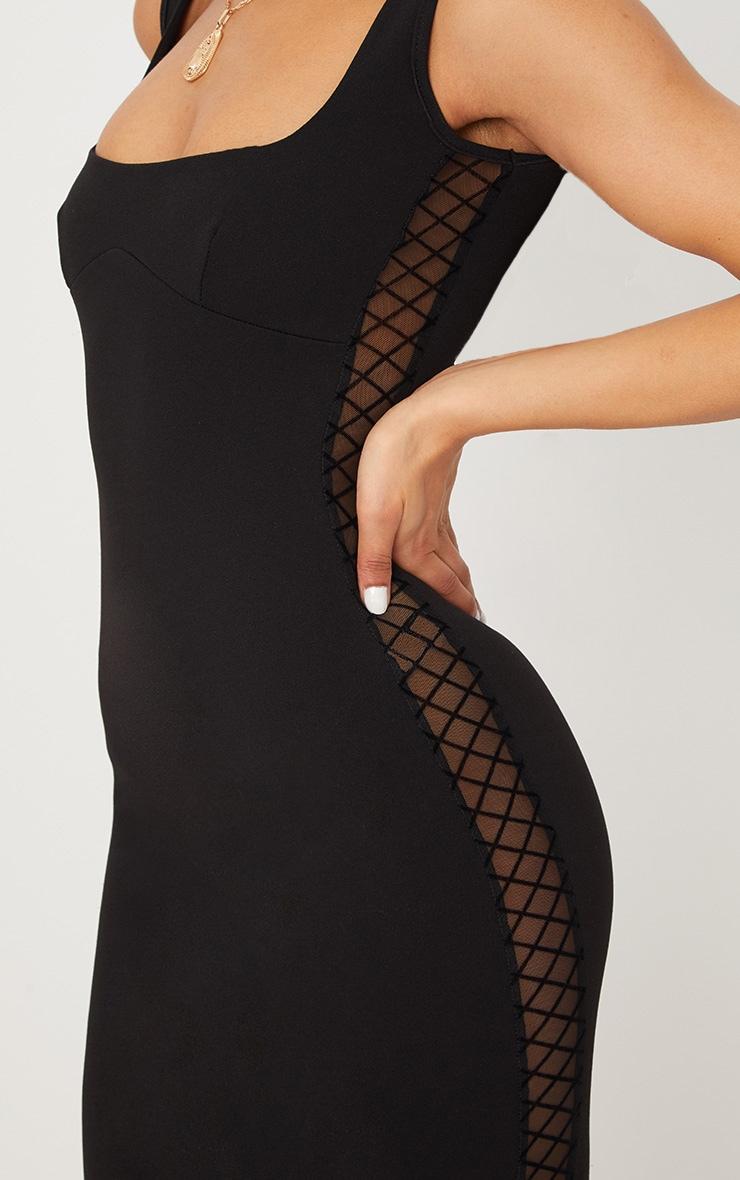 Black Mesh Side Square Neck Midi Dress 5