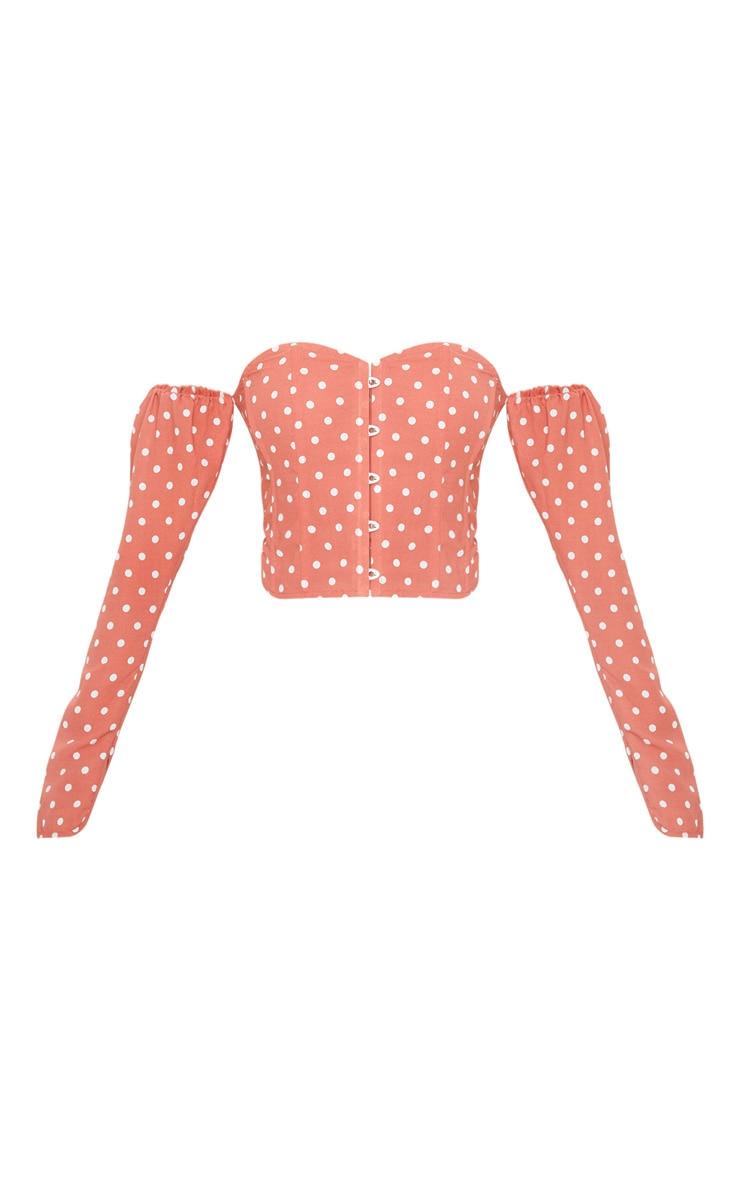 Terracotta Polka Dot Satin Long Sleeve Bardot Corset Top 3